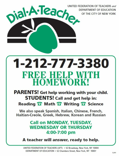Free Homework Help flyer from the NYC DOE 1-212-777-3380
