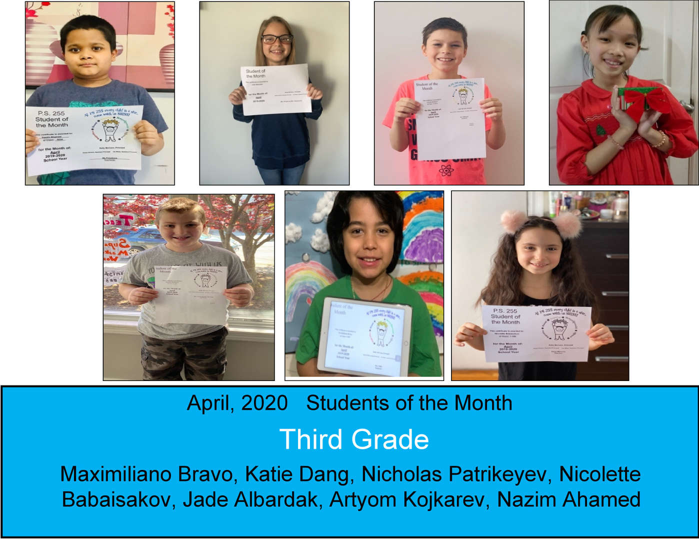 April Student of the Month Grade 3