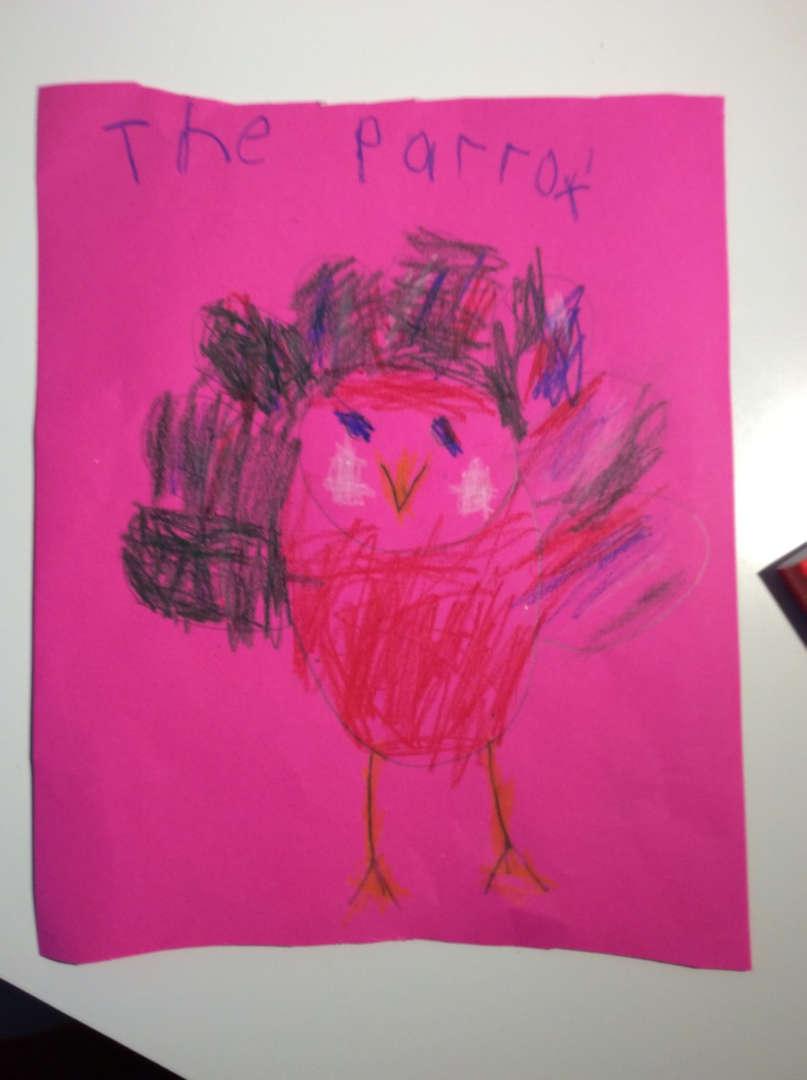 Turkey drawn on a pink paper
