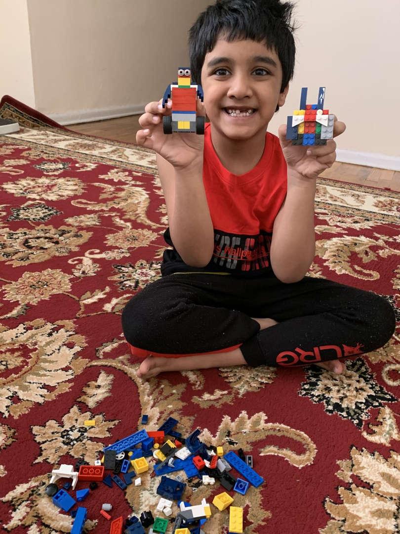 Boy shows off Lego creations