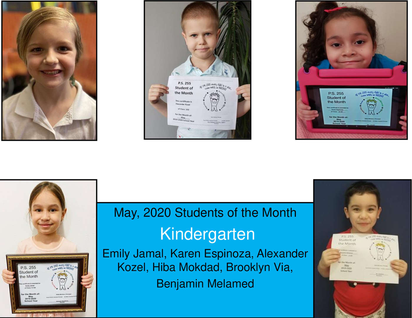 May Student of the Month Kindergarten