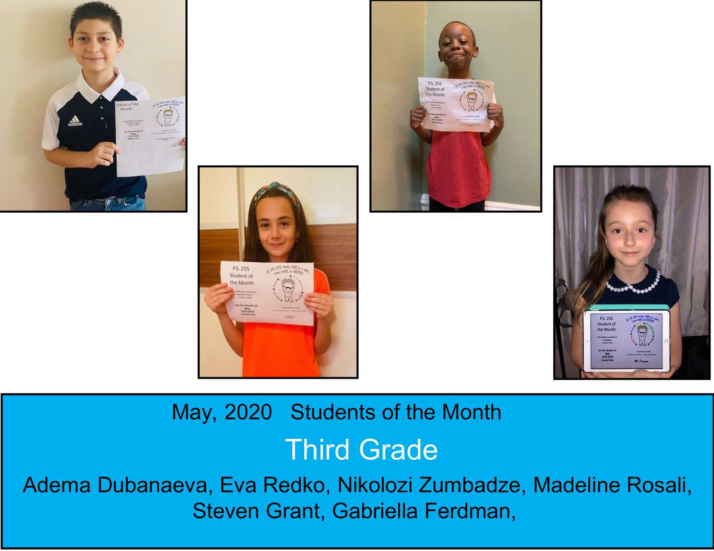 May Student of the Month Grade 3