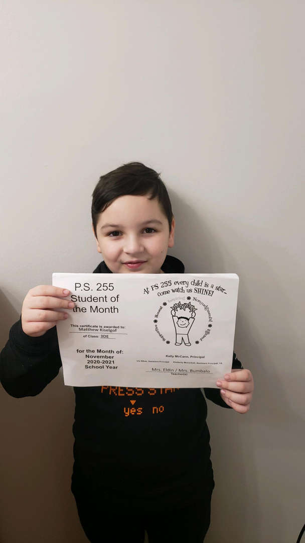 Matthew November 2020 Student of the Month