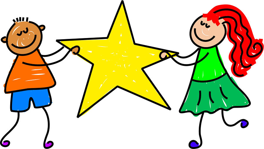 two children holding a large star
