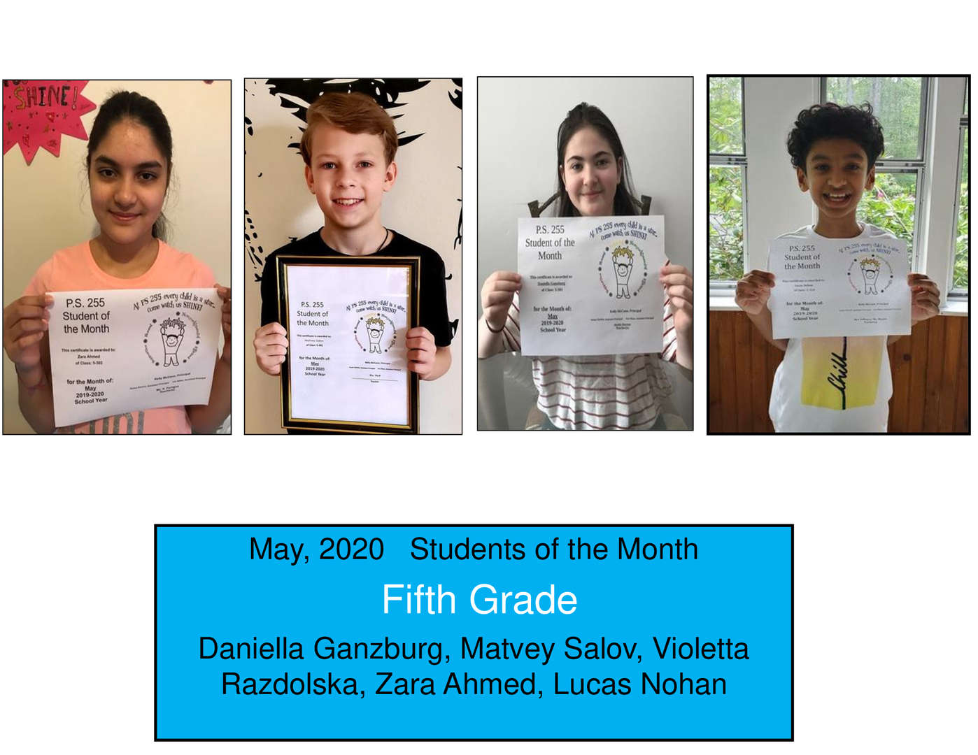 May Student of the Month Grade 5