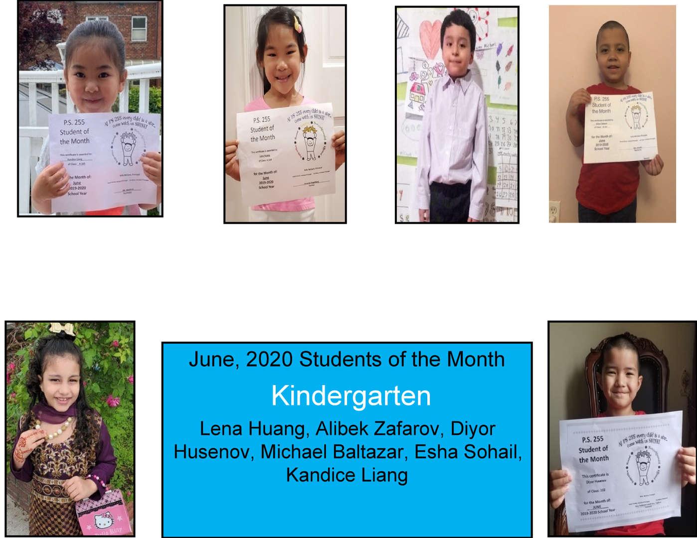 June Student of the Month Kindergarten