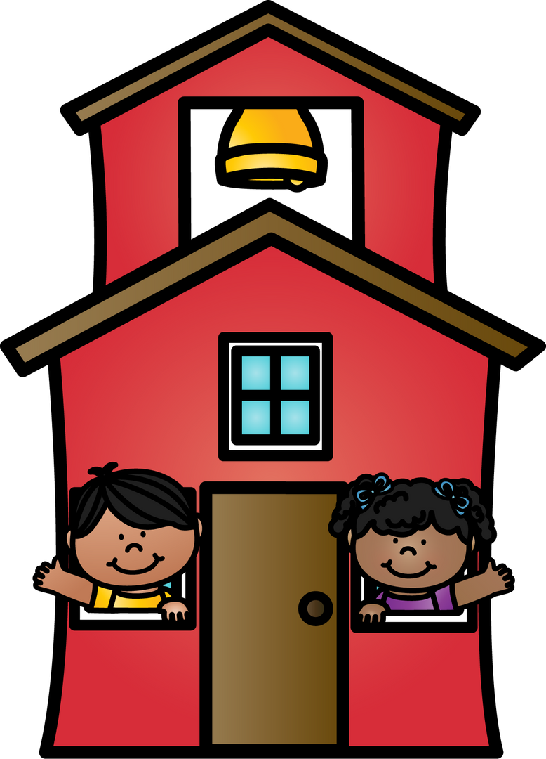 2 children waving from windows of schoolhouse