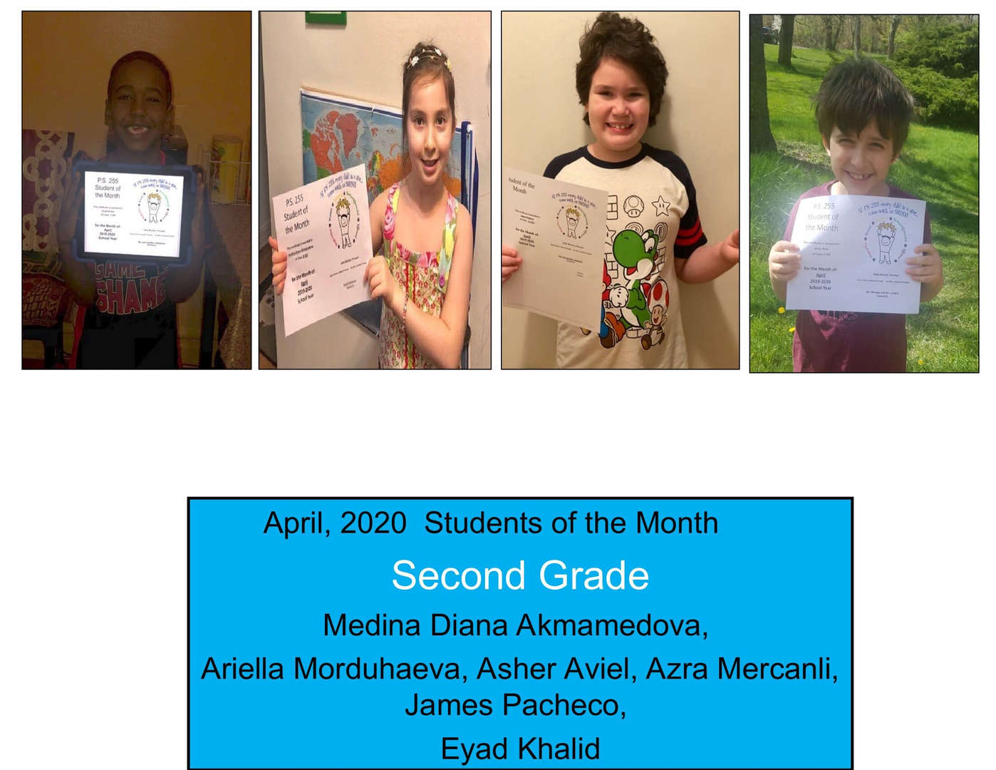 April Student of the Month Grade 2