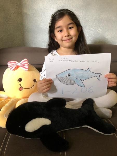 girl holds whale drawing near stuffed animal