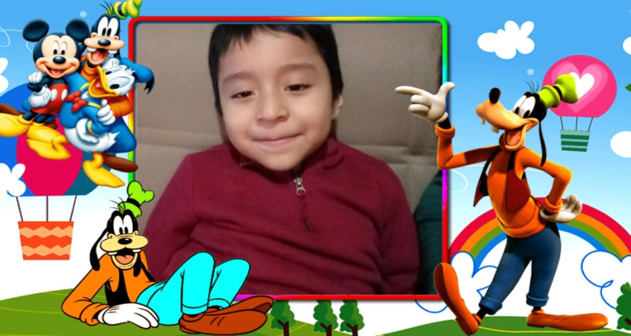boy in Disney frame
