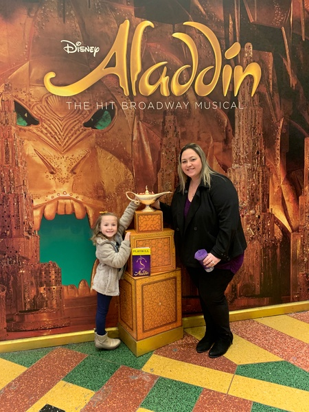 teacher and daughter at Aladdin play