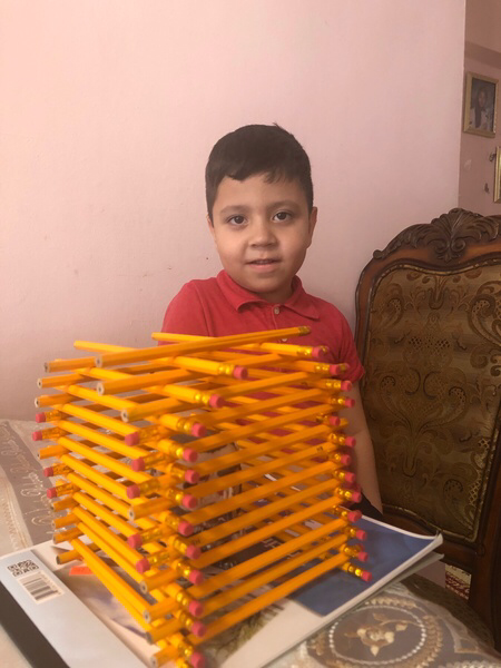 the child made a building from pencils