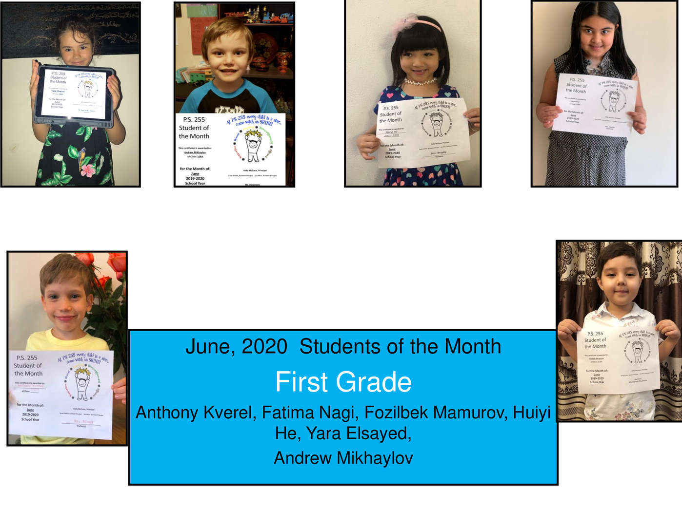 June Additional Student of the Month Grade 1