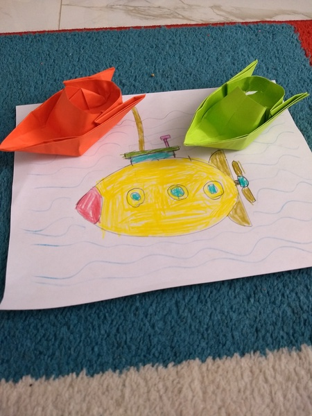 submarine and origami boats