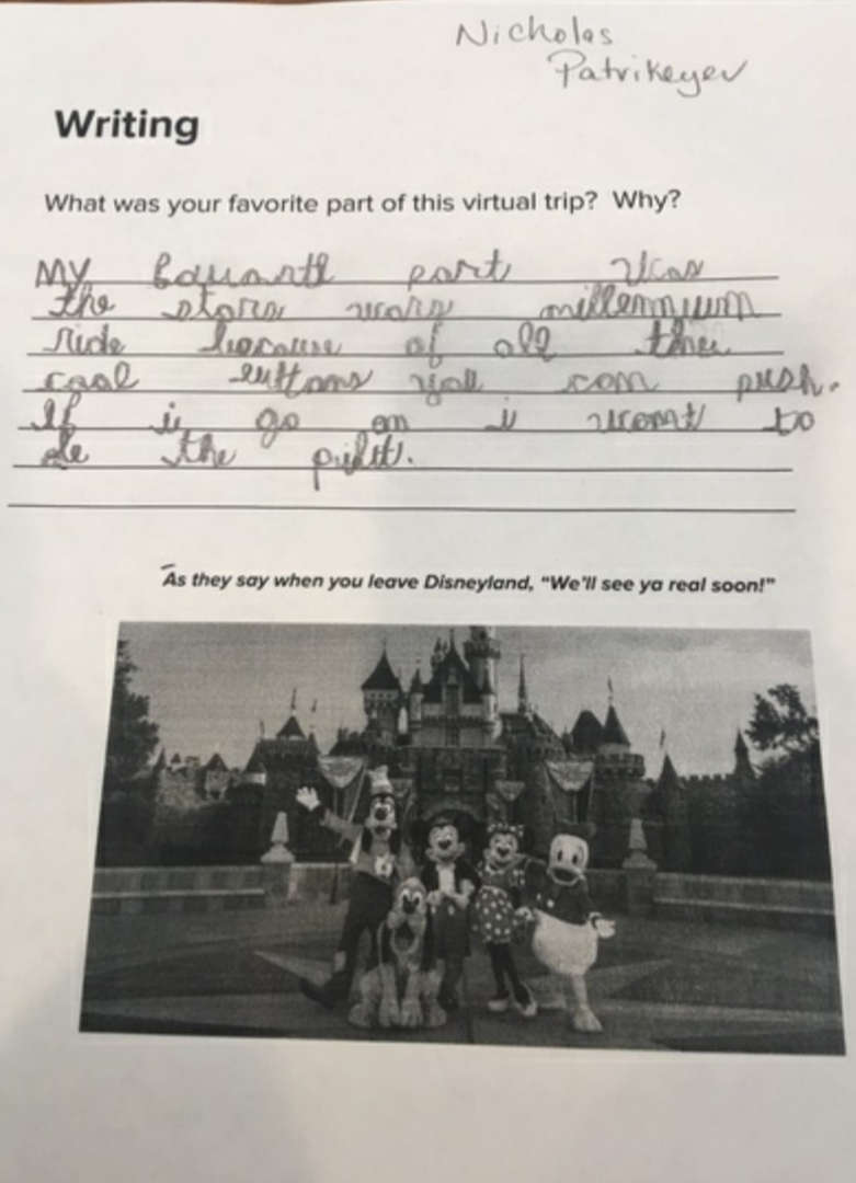 Disney writing with black and white photo