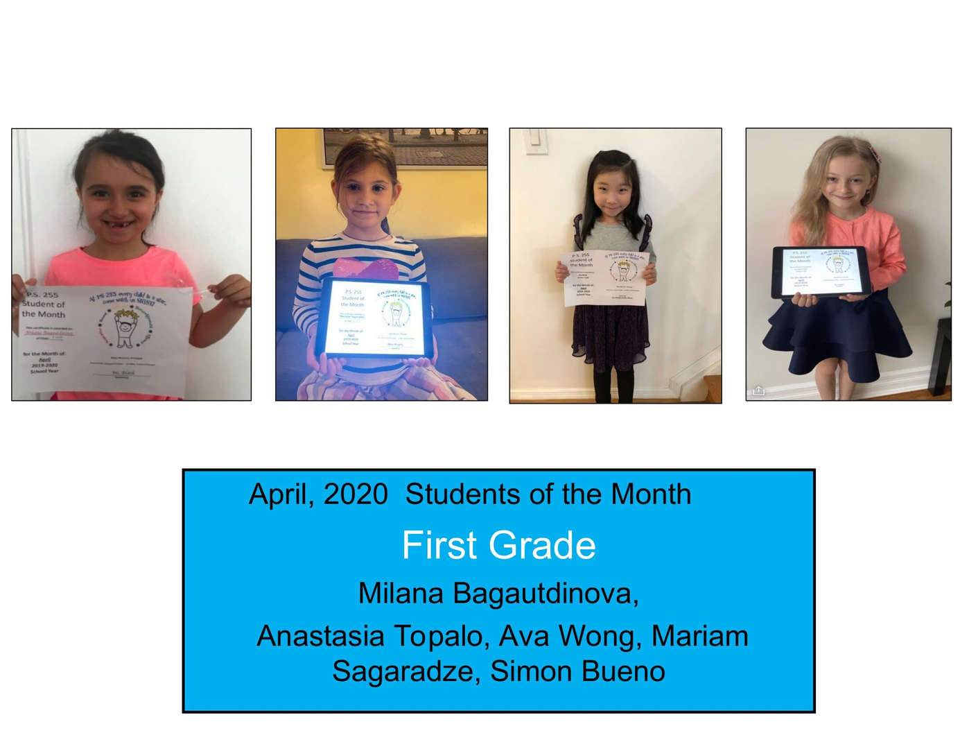 Smiling students for April Student of the Month Grade 1