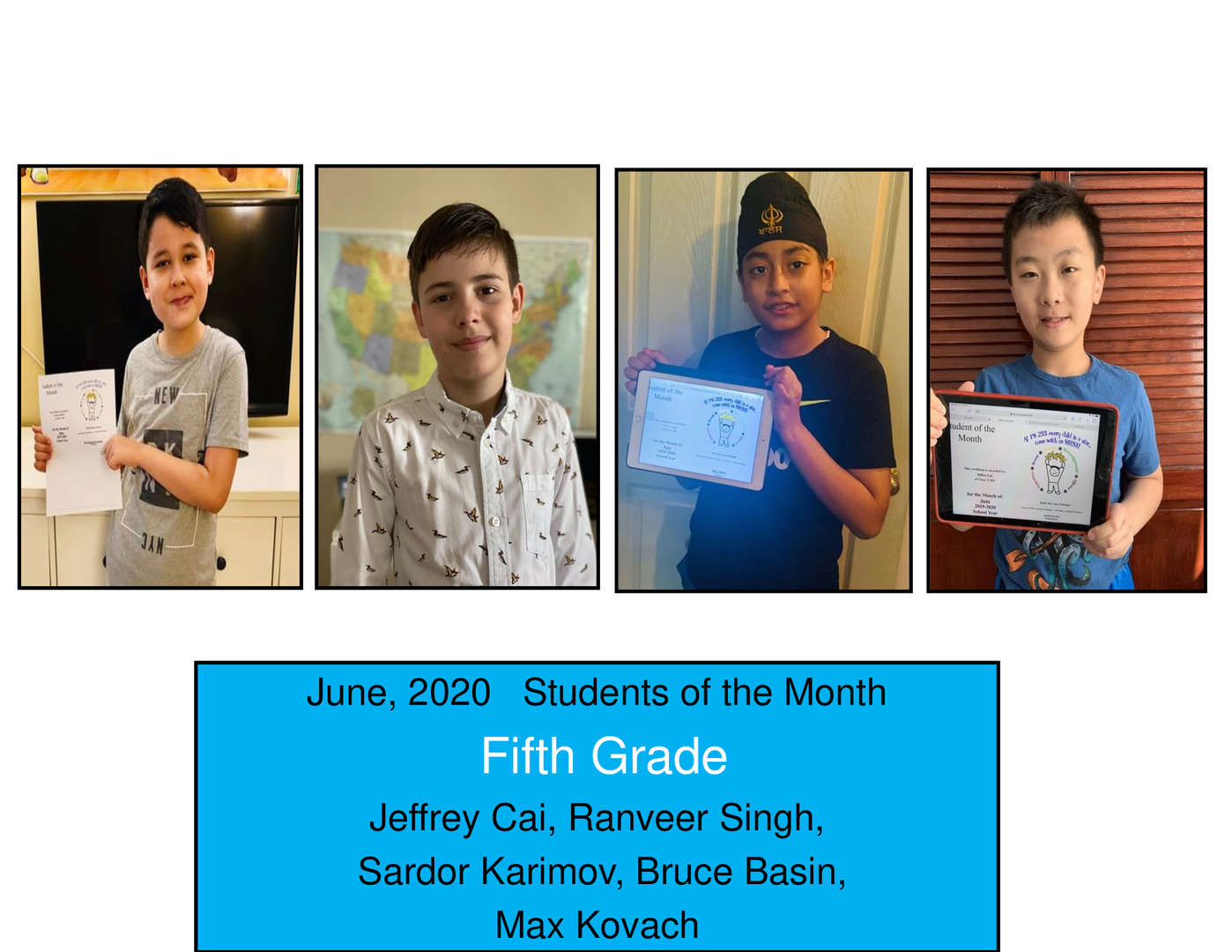 June Student of the Month Grade 5