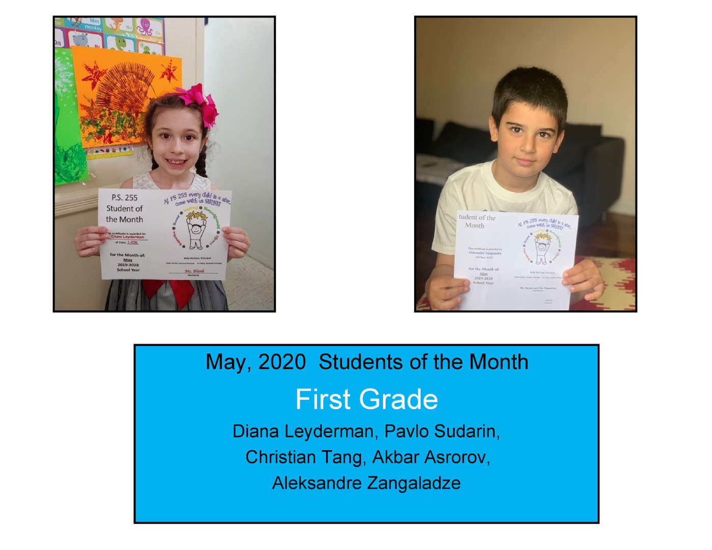 Two children May Student of the Month Grade 1