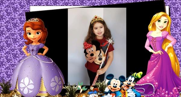 girl in princess Sophia frame