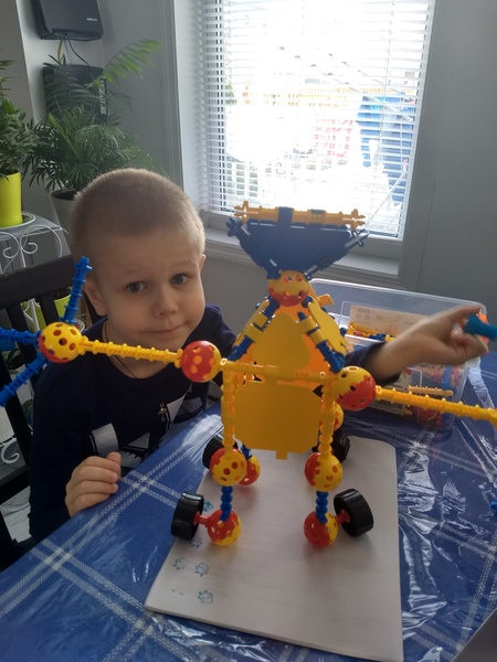 yellow and blue blocks used to create a monster in fan of the child