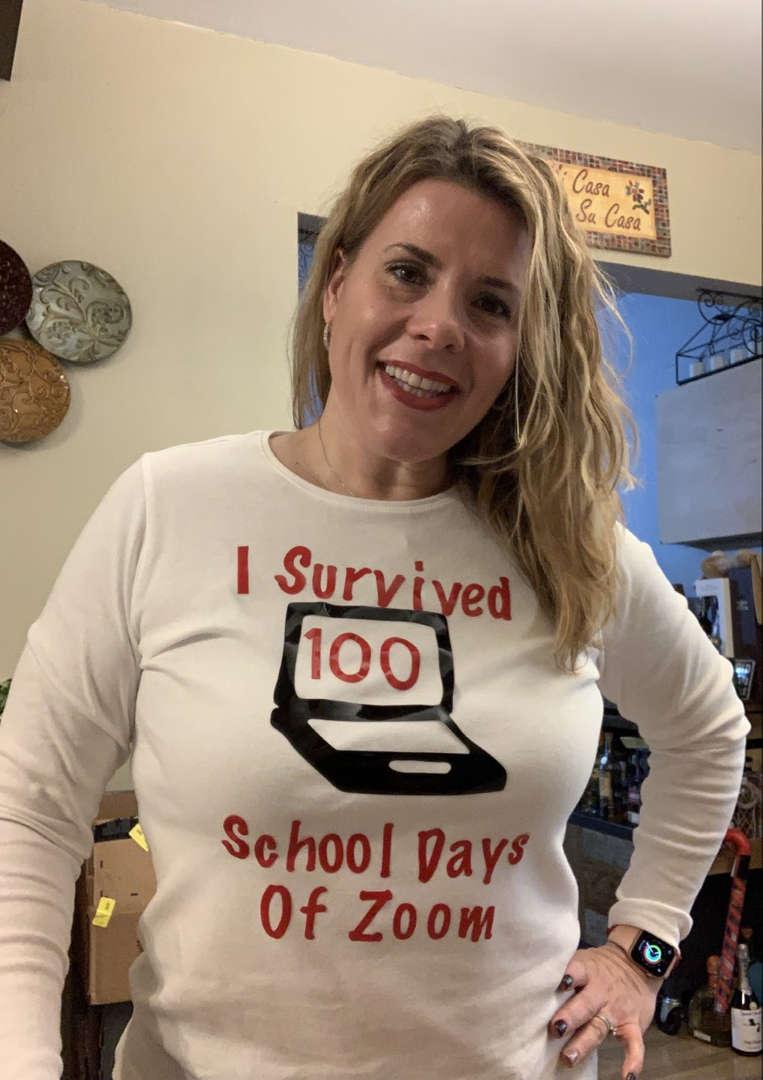 woman wearing a 100 day zoom shirt