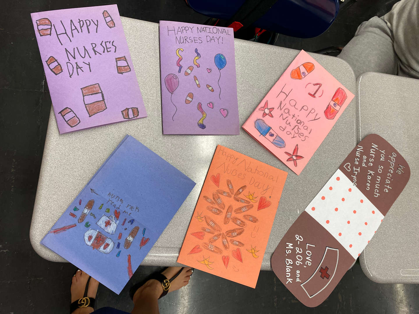 A display of thank you cards drawn by students