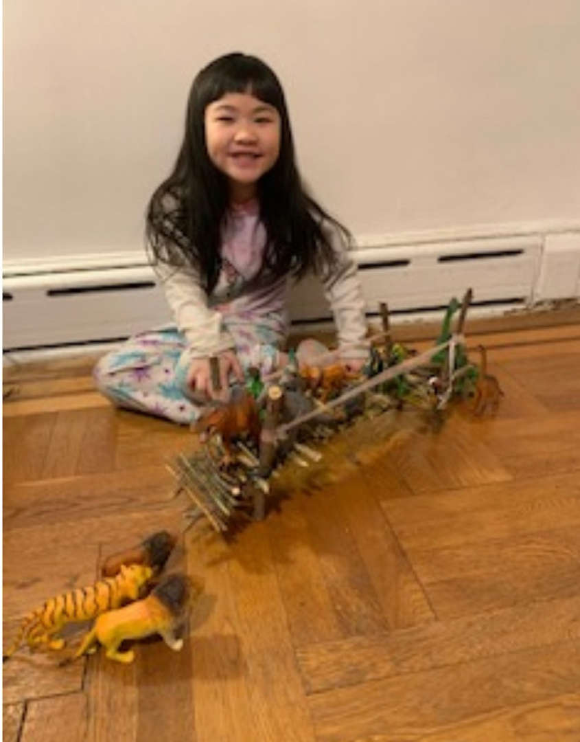 the dinosaurs cross the wooden bridge on the floor