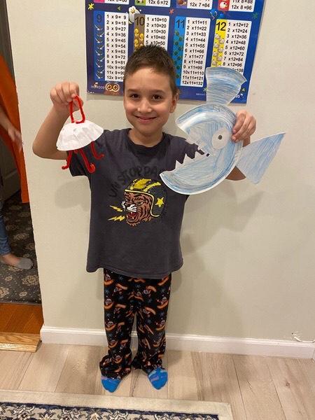 Student shares his shark artwork