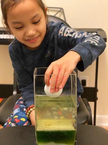 the child places an egg in the liquid