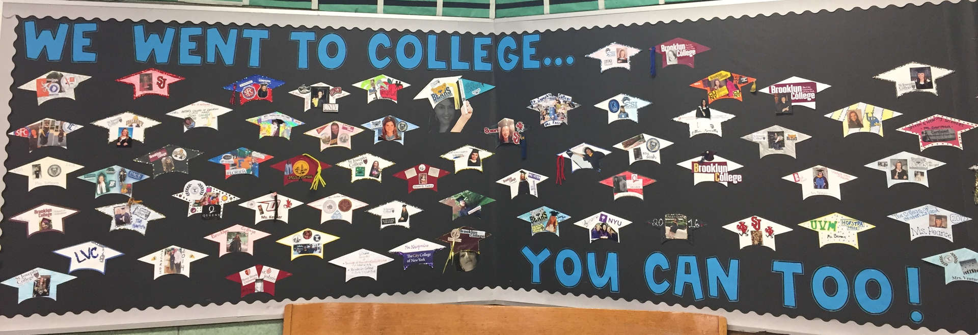Bulletin Board in Foyer about staff going to college.