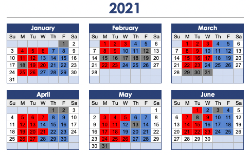 red and blue cohort calendar