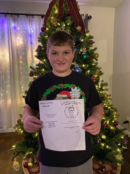 Nicholas November 2020 Student of the Month