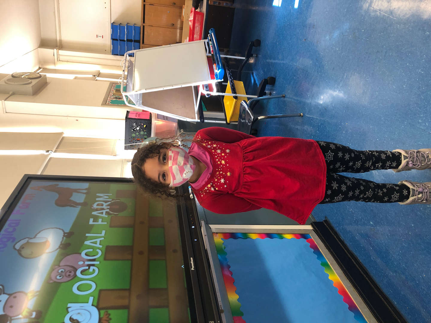 student wears red shirt for support day