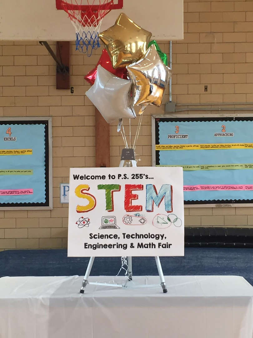 Sign that welcomes guests to the STEM Fair.