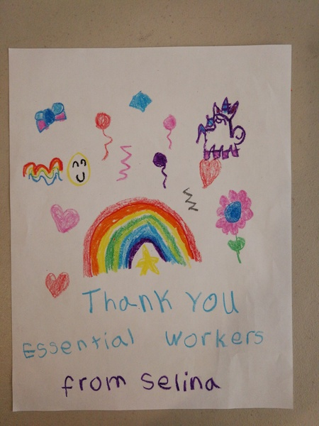 rainbow and flowers that says thank you