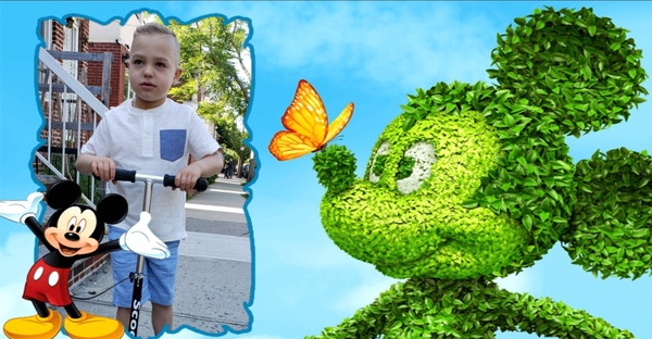 boy in frame with plant mickey