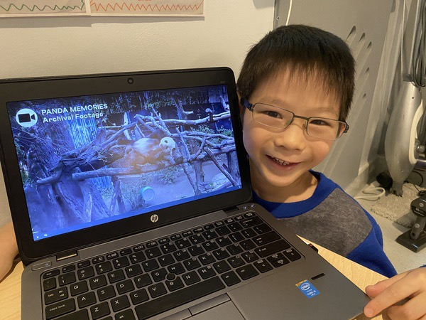 child smiles near the laptop screen