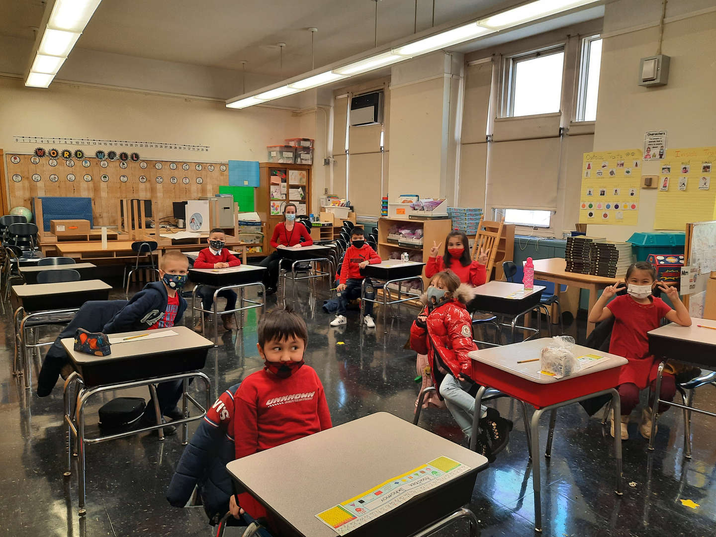 students wearing red in their classroom