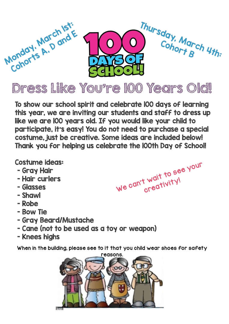 flyer for 100 days of school