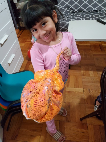 the child holds the sea animal
