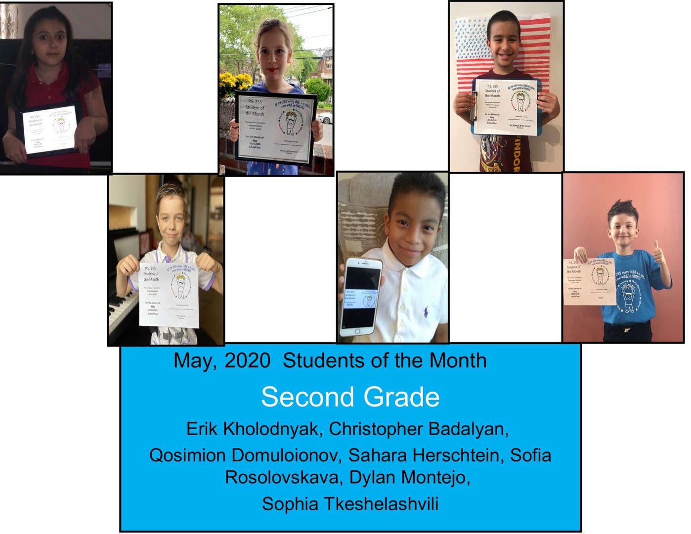 May Student of the Month Grade 2
