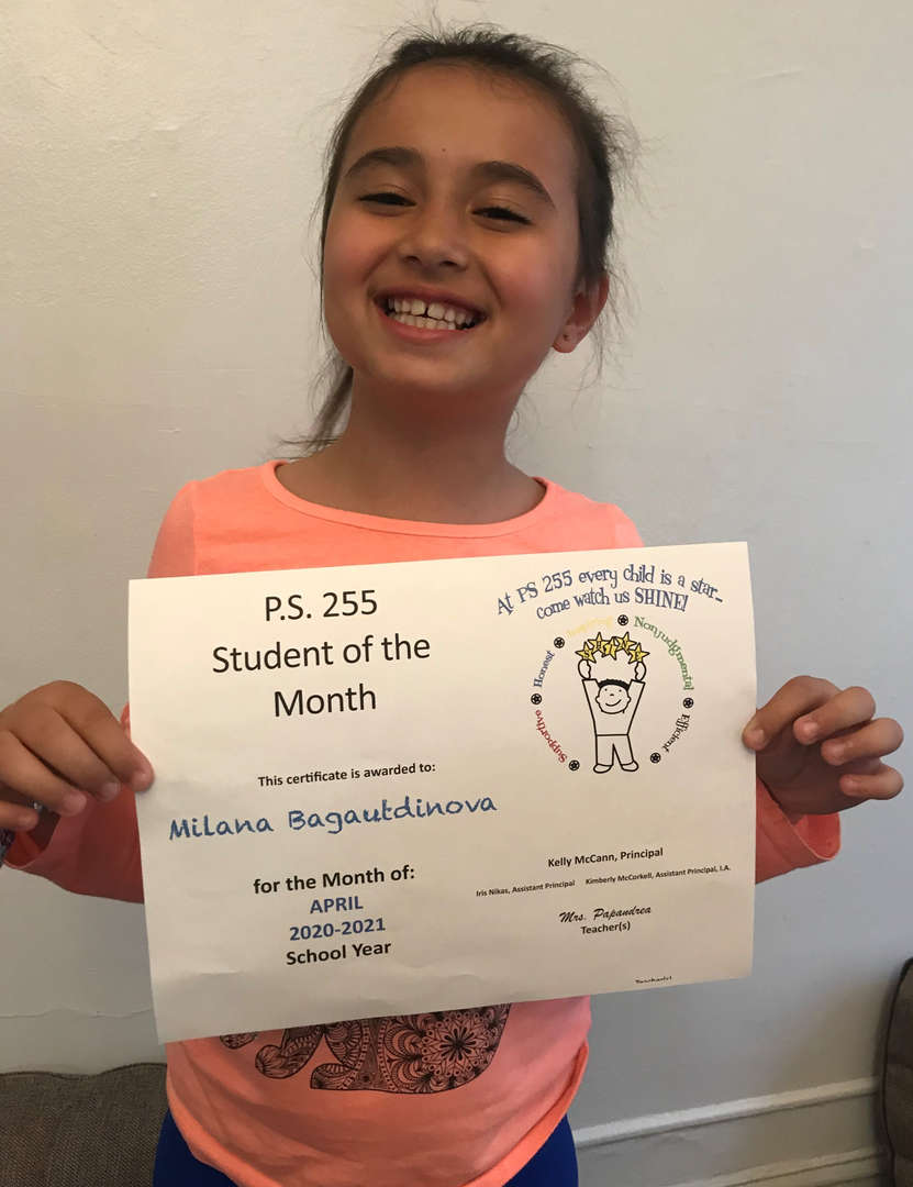 Milana April Student of the Month