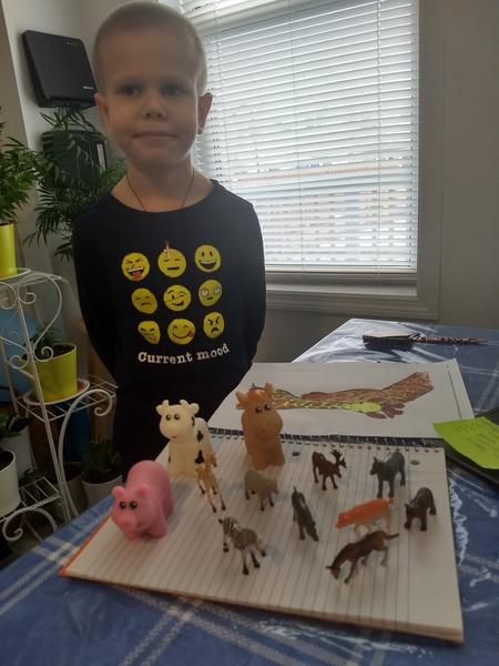 boy smiles near his toy animals