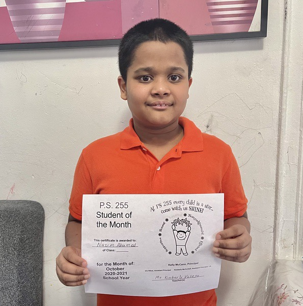Nazim January Student of the Month