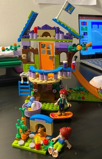 Student built house from Legos