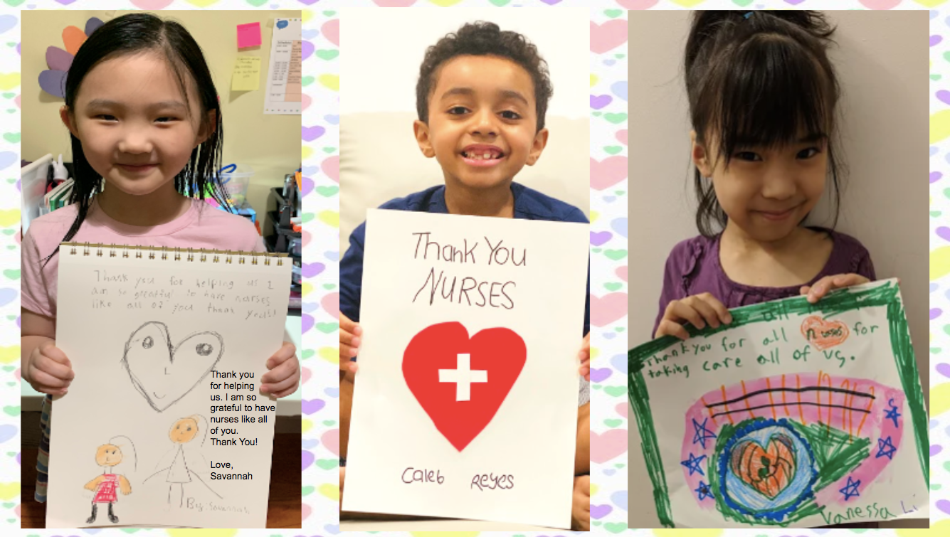 students showing us their thank you cards