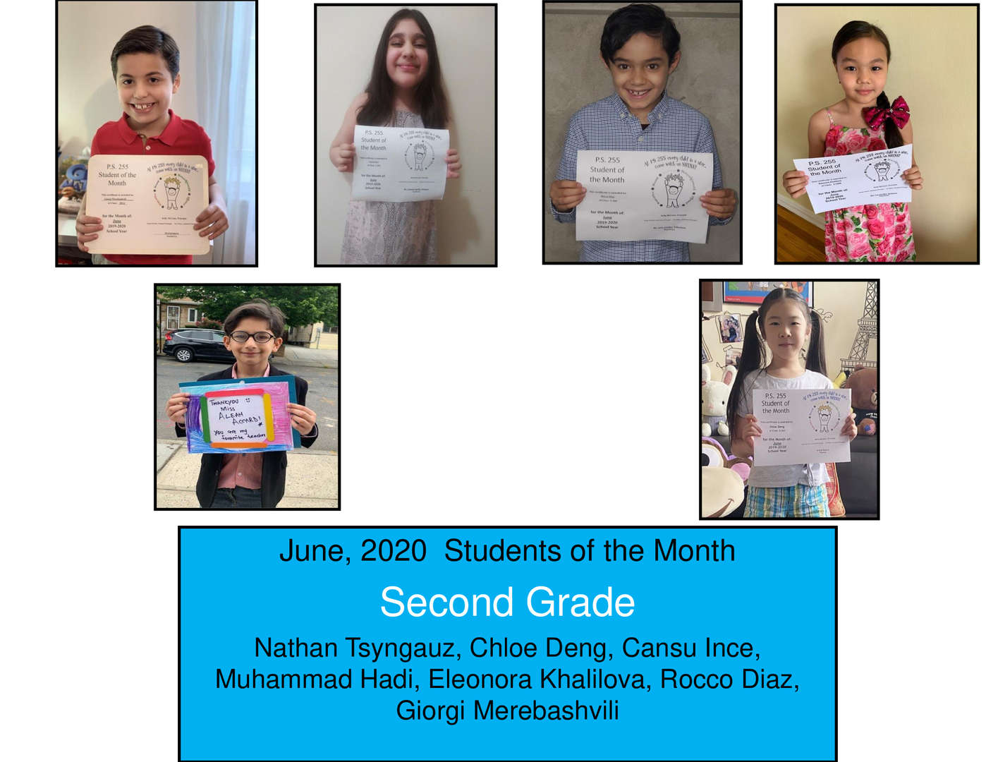 June Student of the Month Grade 2