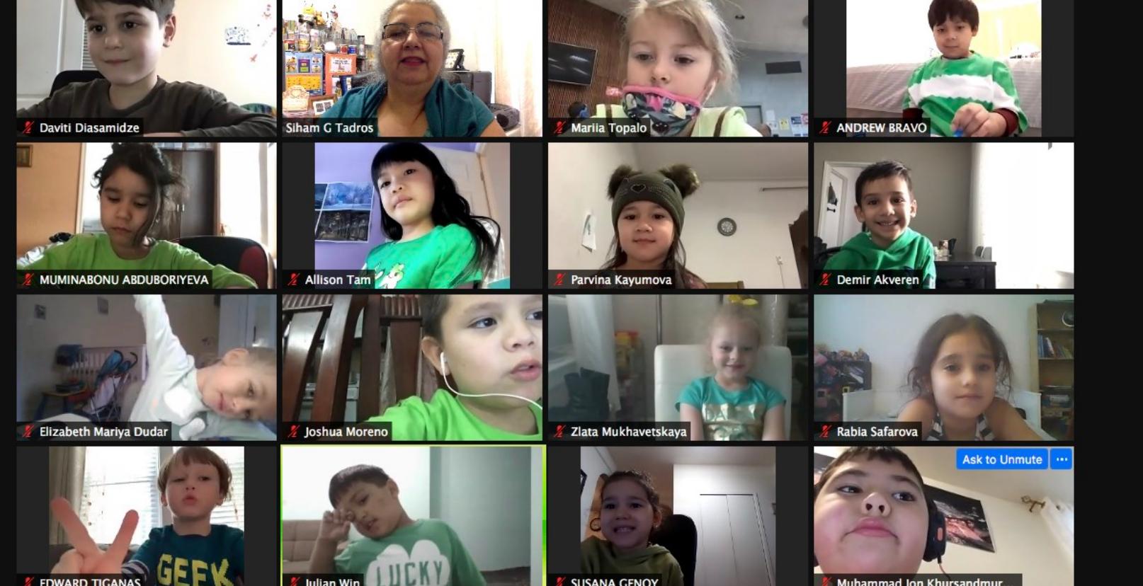 kindergarten students wear green