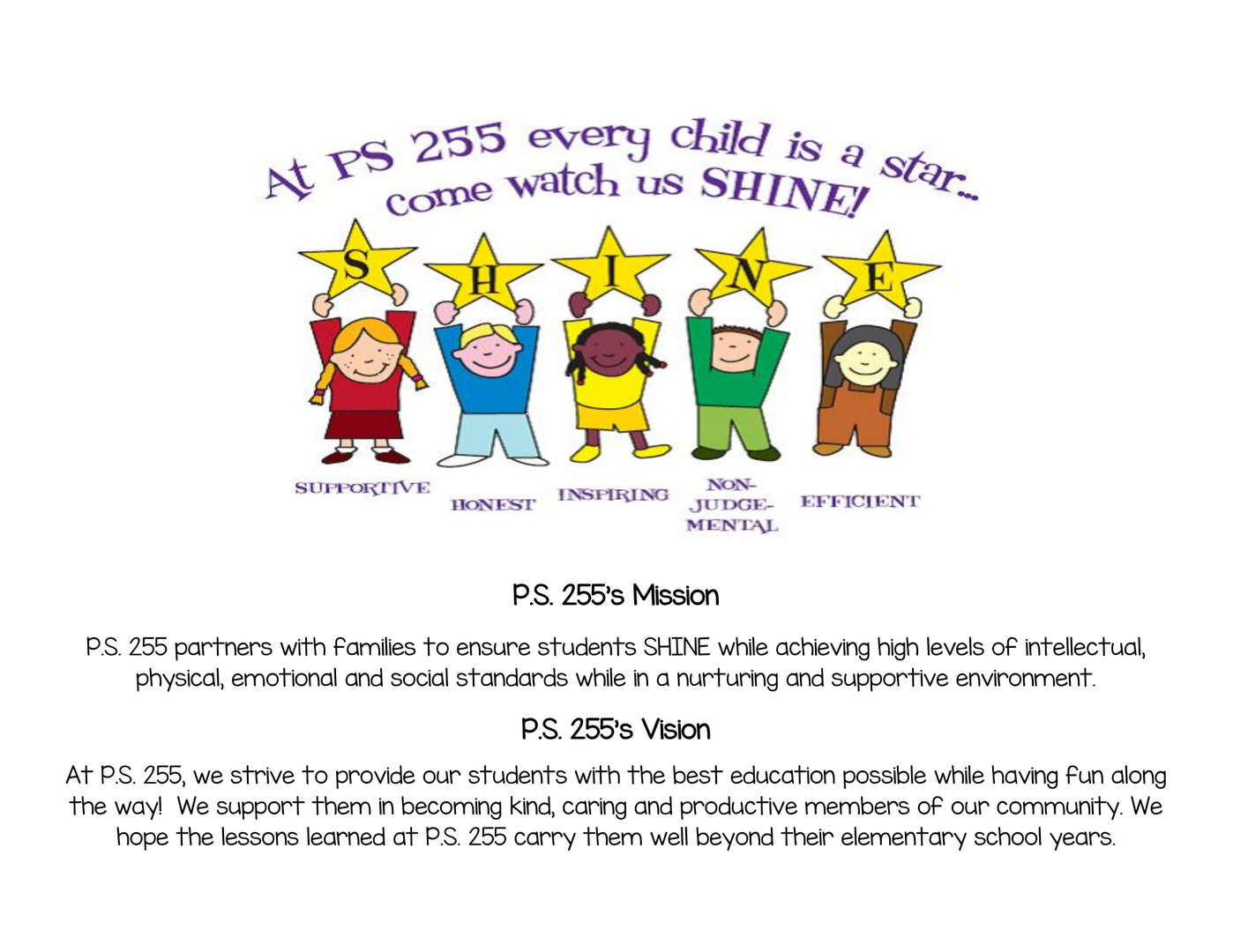 P.S. 255's Mission and Vision statement