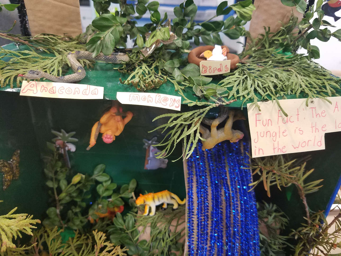 """<img src=""""rainforest.png"""" alt=""""rainforest made of cardboard artificial plant and plastic animals"""""""